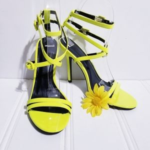 Wild Diva Neon Yellow Leather Ankle Strap Sandal